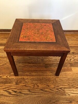 Mid Century Vintage JOHN KEAL Brown Saltman Walnut Side Table W/ Enamel Copper