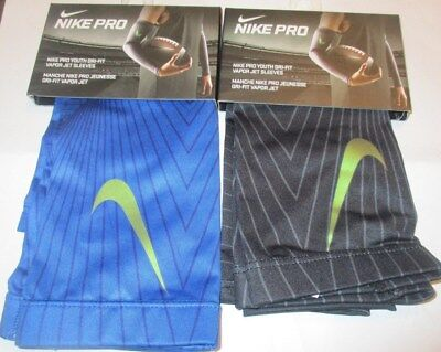 Kid's Nike Pro Youth Dri-Fit Vapor Jet Sleeves Gray/blue Two Pairs Boy One Size