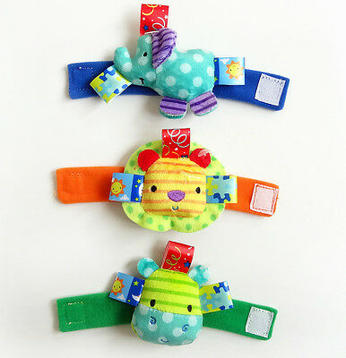 Baby Infant Soft Plush Wrist Band Rattles Cute Animal Toys Hand Bell Band Gifts