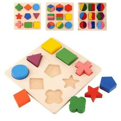 Wooden Geometry Block Puzzle Kids Montessori Early Learning Educational Toys Hot