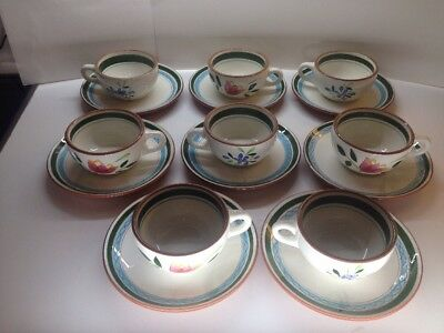 Vintage Stangl Pottery Country Garden 16 Piece Cups And Saucers