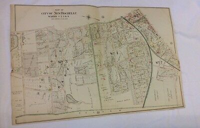 1898 city of  New Rochelle Wards 1 2 3 & 4 Linen Colored Alta's Map Plan
