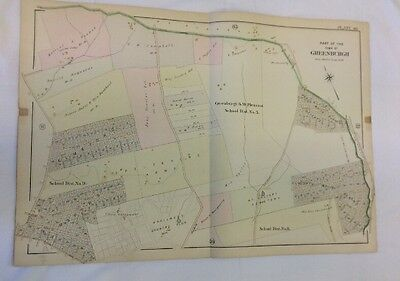 1898 Part Of The Town Of Greenburgh NY Plot Plan Map Atlas Linen 400' To 1 Inch