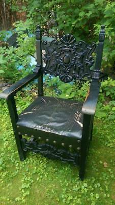 Antique Throne Chair with Carved Angels