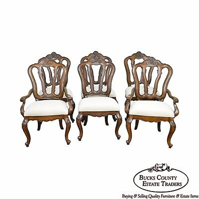 Pulaski Set of 6 French Rococo Walnut Dining Chairs