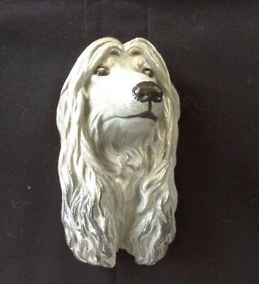 Beautiful Vintage Blue Afghan Hound Head--Hanging Wall Plaque
