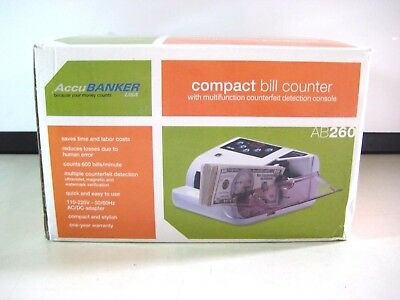 New Accubanker Ab260 Compact Bill Counter   Multi-Function Counterfeit Detection