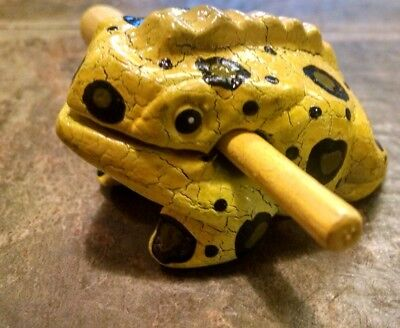 Yellow Wooden Frogs Musical Instrument Handcraft Wood Toy Percussion Frog Ribbit