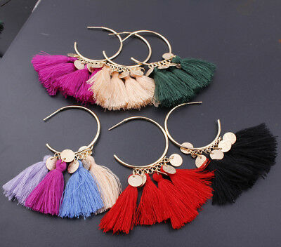 Big earrings Vintage Tassel Drop Long Dangle Circle large hoop round Party