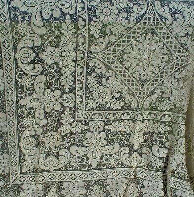 Vintage Hand Made Filet Lace Bed Cover w/ Neo-Classical Art 66 ins.