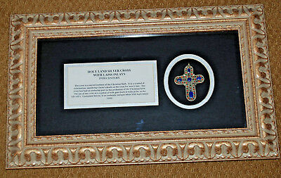 Antique Holy Land Silver Cross w/ Blue Lapis Inlays in Framed Shadowbox w/ COA
