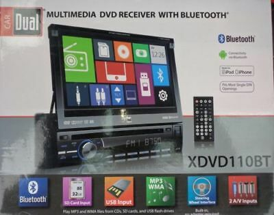 "NEW Dual 1 Din XDVD110BT DVD/CD/MP3 Player Flip Up Out 7"" LCD Bluetooth USB AUX"