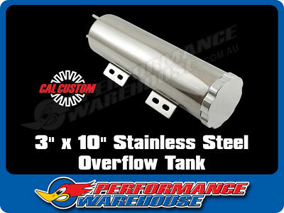 "POLISHED STAINLESS STEEL RADIATOR OVERFLOW TANK 3"" x 10"" COOLING PERFORMANCE"