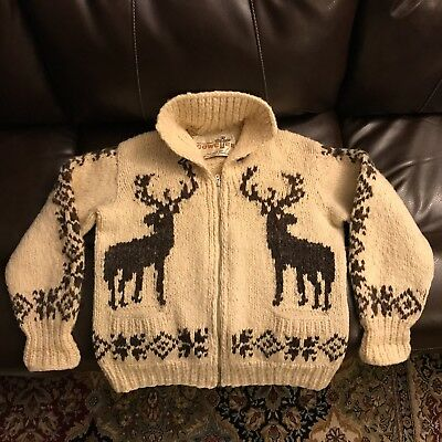 Vintage Cowchee Deer Motif Sweater Hand Made by Canada's Cowichan Tribe, Size M