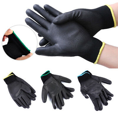 12 Pairs PU Nylon Safety Coating Work Gloves Builders Grip Palm Protect S M L