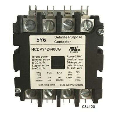 40 AMP DEFINITE PURPOSE CONTACTOR 4 Pole 120V Lighting Heating Refrigeration 40A
