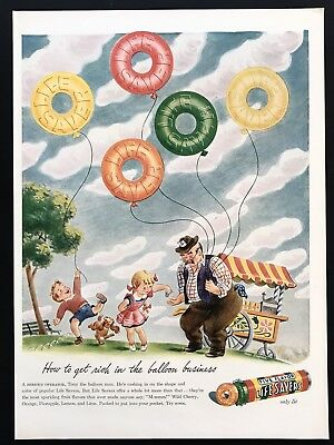 1944 Vintage Print Ad 40's LIFE SAVER CANDY Balloon Kids Playing In Park Art