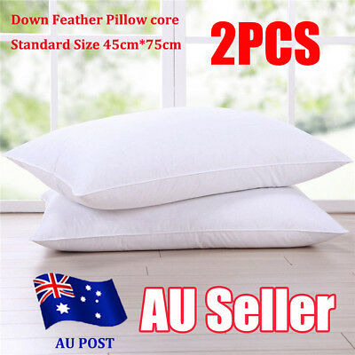 luxury Goose Down Feather Pillow 100% Cotton Cover Twin Pack Washable each 1.6kg