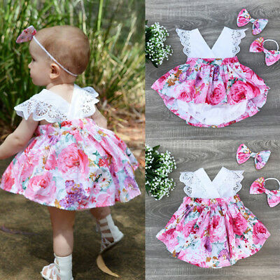 Cute Newborn Baby Girl Floral Clothes Romper Tutu Dress Headband Outfits Sunsuit