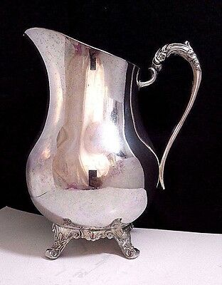 Antique Vintage 1883 FB Rogers Silver Plate Footer Water Pitcher w/ Ice Catch
