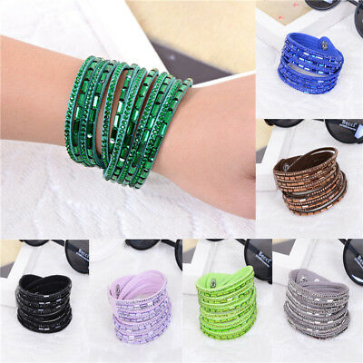 Stylish Crystal Rhinestone Bracelet Bangle PU Leather Wrap Wristband Cuff Punk