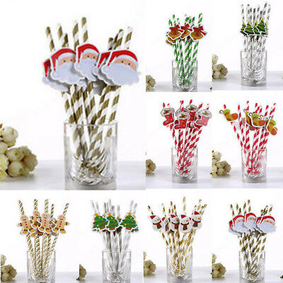 10PCS DIY Christmas Santa Stripe Paper Drinking Straws Festive Party Decoration