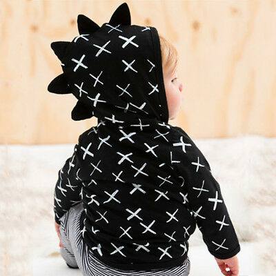 AU Stock Kids Baby Boys Girls Dinosaur Clothes Zip Sweatshirt Hoodie Jacket Coat