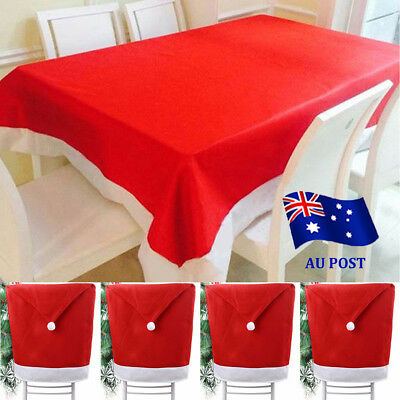 Christmas Chair Covers Dinner Table Santa Hat Tablecover Skirts Home Decor Gift