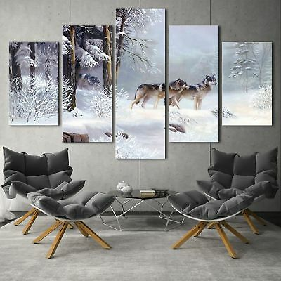 Snow Wolf Animal Paintings 5PCS HD Canvas Print Home Decor Room Wall Art Picture
