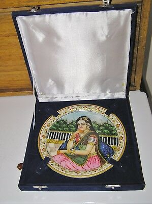 marble stone decorative plate with painted woman from India in box