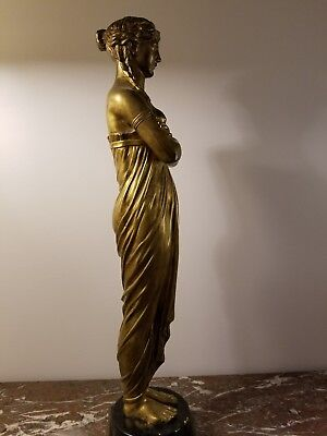 Antique Solid Bronze Caryatid Statue French Signed