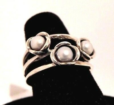 Authentic Pandora Three Wishes Grey Pearl Sterling Silver 925 Ring Size 54 56 58