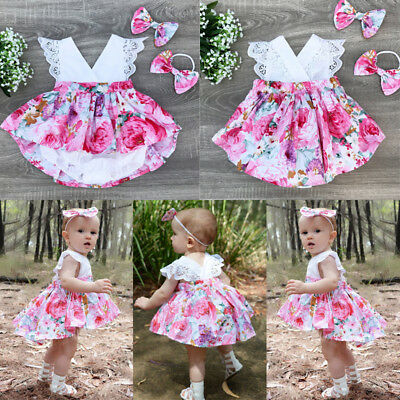 AU Stock Toddelr Kids Baby Girls Matching Floral Jumpsuit Romper Dress Outfits