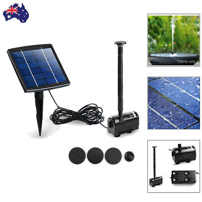 200L/H Solar Power Fountain Water Pump Submersible Fish Pond Kit Outdoor Panel