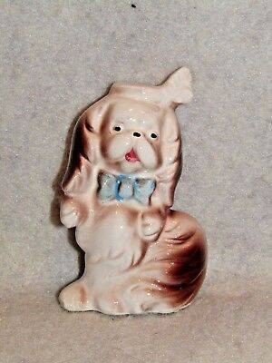 Vintage Porcelain Pekingese Dog w/Feather in Hat~ Made in Japan 1950's