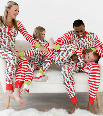 USA Family Matching Christmas Pajamas Set Baby Kids Santa Sleepwear Nightwear
