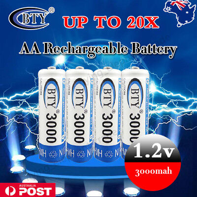 4-20Pcs BTY AA Rechargeable Battery Recharge Batteries 1.2V 3000mAh Ni-MH AU