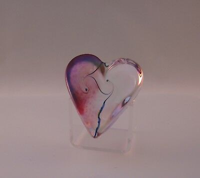 Robert Held Art Nouveau Cranberry Swirl Small Heart Paperweight Signed Label