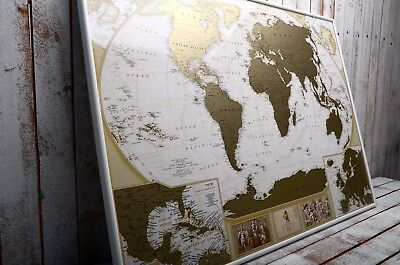Large Gold World Map, Scratch off Map, Personal gift, travel map, push pin map