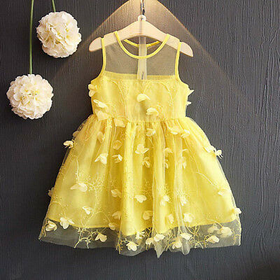 Toddler Kids Baby Girl Princess Party Clothes Lace Sleeveless Tulle Tutu Dresses