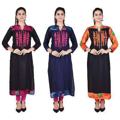 Bollywood Women Indian Ethnic straight Embroidered Kurti Casual Top / Tunic