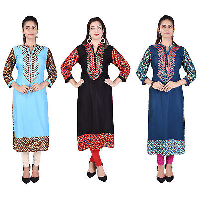 Bollywood Women Indian Ethnic straight Embroidered Kurti Casual Top/Tunic