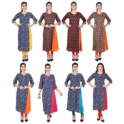 Bollywood Women Indian Ethnic straight Key Hole Neck Kurti Casual Top/Tunic