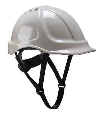 Portwest PG54 Endurance Glowtex Safety Helmet ABS Work Hard Hat Chin Strap White