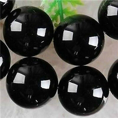4mm 6mm 8mm 10mm Black Real Agate Onyx Round Loose Beads Gemstone 15""