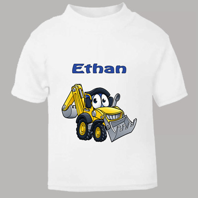 Funny Digger Personalised Childs Name T Shirt for kids Named Child Tee Excavator