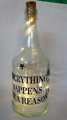 wine bottle with quote and light, everything happens for a reason , gift, craft
