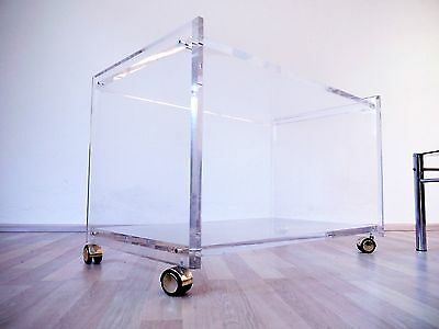 VINTAGE HOLLYWOOD REGENCY STYLE 70s 80s LUCITE BAR CART TROLLEY COFFEE TABLE