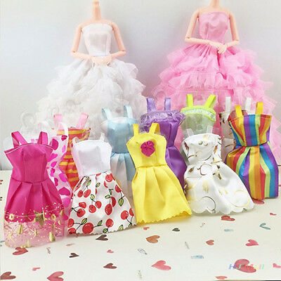 10 Pcs/lot  Handmade Fashion Clothes Dress for Barbie Doll Party Costume Solid