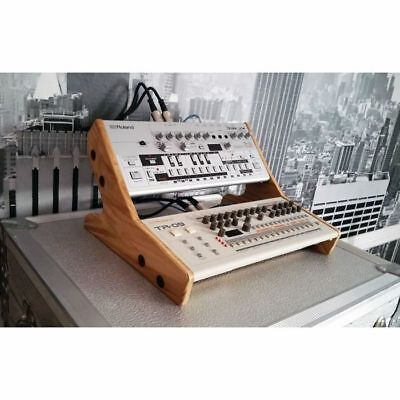 Synths & Wood Solid Oak End Cheeks Stand For Dual Roland Boutique